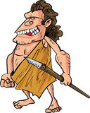 Cartoon caveman with a spear. Isolated on white Stock Photo