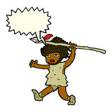 cartoon caveman with speech bubble Royalty Free Stock Photos