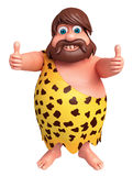 Cartoon caveman with thumbs up pose Royalty Free Stock Image