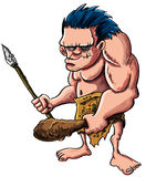 Cartoon caveman or troglodyte. Cartoon  illustration of a stooped muscular caveman or troglodyte in an animal skin loincloth brandishing a wooden cudgel and Stock Image