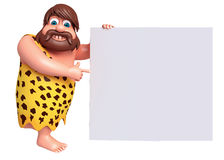 Cartoon caveman with a white board Stock Photography