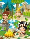 Cartoon cavemen - stone age family Royalty Free Stock Photo