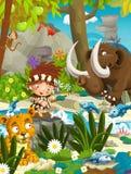 Cartoon cavemen - stone age family - mammoth Royalty Free Stock Photos