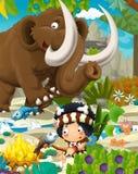 Cartoon cavemen - stone age family - mammoth Stock Photography