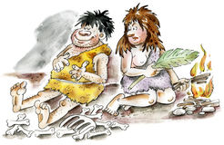 Cartoon cavemen and woman. By the fire Stock Photography