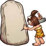 Cartoon cave woman writing on stone Stock Photography