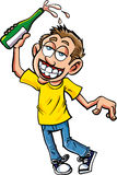 Cartoon of celebrating dunk with champagne. Bottle Royalty Free Stock Photography