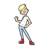 Cartoon celebrating man. Hand drawn cartoon illustration in retro style.  Vector available Royalty Free Stock Photography