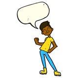 Cartoon celebrating man with speech bubble Stock Image