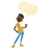 Cartoon celebrating man with speech bubble Stock Photography
