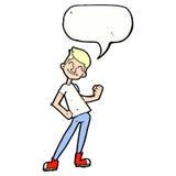 Cartoon celebrating man with speech bubble Stock Photo