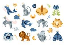 Free Cartoon Celestial Animals And Bird Isolated Kids Clipart Stock Photo - 209378770