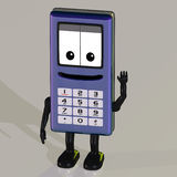 Cartoon cell phone. A cell phone with arms and legs Royalty Free Stock Image