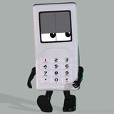 Cartoon cell phone. A multicolored cell phone with arms and legs Royalty Free Stock Photography