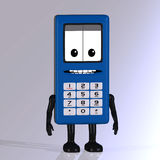 Cartoon cell phone with cute and funny emotional f. A multicolored cell phone with arms and legs Stock Image