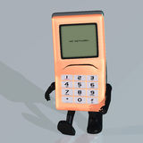 Cartoon cell phone with cute and funny emotional f. A multicolored cell phone with arms and legs Royalty Free Stock Photo