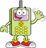 Cartoon cell phone. Cartoon illustration of a cell phone waving Stock Illustration