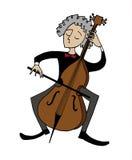 Cartoon cellist. Musician playing a cello. Stock Photos