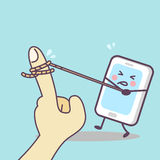 Cartoon cellphone tug-of-war with finger. Cute cartoon cellphone tug-of-war with finger, great for your technology concept design Stock Image