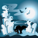 Cartoon Cemetery with Ghosts. Old cartoon cemetery with ghosts at night Royalty Free Stock Images