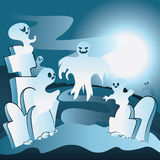 Cartoon Cemetery with Ghosts. Old cartoon cemetery with ghosts at night Stock Photography