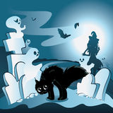 Cartoon Cemetery with Ghosts. Old cartoon cemetery with ghosts at night Stock Photos