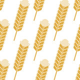Cartoon cereal wheat or barley spikes seamless. Cartoon cereal ears seamless pattern showing yellow wheat or barley spikes for agriculture or farming concept Stock Photography