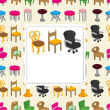 Cartoon chair furniture card Royalty Free Stock Images