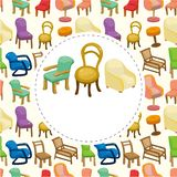 Cartoon chair furniture card Stock Images