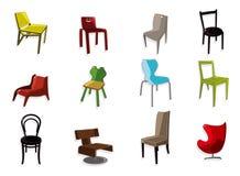 Cartoon chair furniture icon set stock illustration