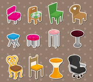 Cartoon chair furniture stickers. Cartoon vector illustration Royalty Free Stock Photography