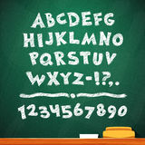 Cartoon Chalk Vector Font on Green School Board Royalty Free Stock Image