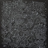 Cartoon chalkboard doodles on the subject of Easter Royalty Free Stock Image