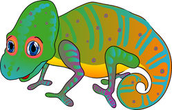Cartoon chameleon. Funny cartoon chameleon. Vector illustration Stock Image