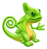 Cartoon Chameleon. Illustration of a cartoon chameleon lizard character standing and showing something with their hand Royalty Free Stock Images
