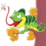 Cartoon chameleon and mosquito Royalty Free Stock Photo