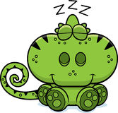Cartoon Chameleon Napping. A cartoon illustration of a chameleon taking a nap Royalty Free Stock Image