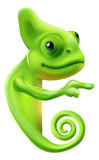Cartoon chameleon pointing. An illustration of a cute cartoon chameleon pointing round a sign or banner Stock Photos