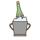 Cartoon champagne bucket bottle ice design Stock Photos