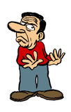 Cartoon character. A grunge cartoon of a man rejecting something Royalty Free Stock Photography
