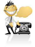 Cartoon character. With vintage phone Royalty Free Stock Photos