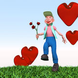 Cartoon character. Runs with flowers Royalty Free Stock Photography