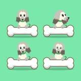 Cartoon character afghan hound dog with big bones Royalty Free Stock Image
