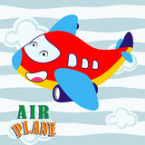 Cartoon character of air plane, funny and cute background education Royalty Free Stock Photos