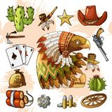 Cartoon character american eagle with set of classic western items design print stock illustration
