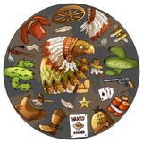 Cartoon character american eagle set of classic western items round design print royalty free illustration