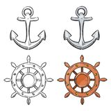 Cartoon character anchor and sea wheel isolated on white background. Nautical elements for coloring book. Vector illustration Stock Illustration
