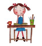 Cartoon character. Artwork, ink and watercolors on paper Royalty Free Stock Images