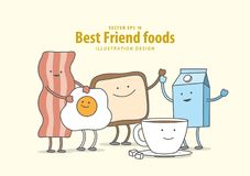 Cartoon character of Bacon, Fried egg, Toast, Coffee, Milk Brea. Kfast illustration vector on pale yellow background. Best friend foods concept Stock Photo