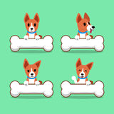 Cartoon character basenji dog with big bones Stock Image
